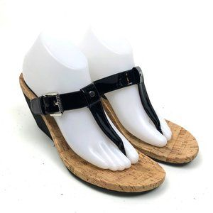 LRL Ralph Lauren Women's Black Patent Sandal Wedge